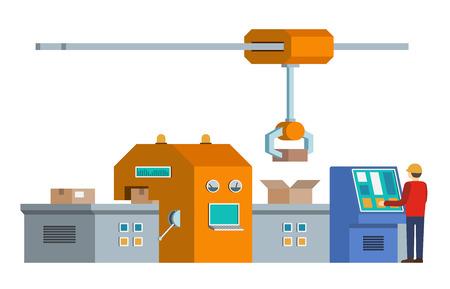 Ligne d'assemblage automatisée. Convoyeur de production automatique. Concept de l'industrie robotique. Illustration vectorielle