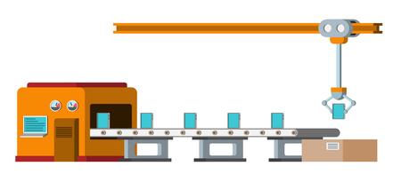 Geautomatiseerde assemblagelijn. Automatische productieband. Robots industrieconcept. Vector illustratie