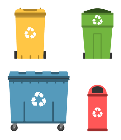 Thrash and recycling can. Garbage container set vector illustration.