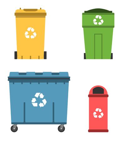 Thrash et recyclage peuvent. Conteneur à ordures mis illustration vectorielle. Vecteurs