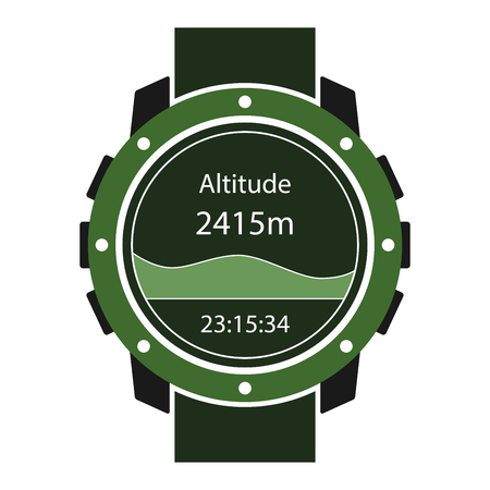 Hiking watches icon. Handwatch for outdoor sport activity. Vector illustrator. Illustration