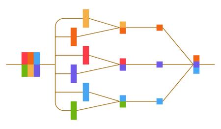 Neurale net. Neuron-netwerk. Diepgaand leren. Cognitieve technologieconcept. Vector illustratie Stockfoto - 89750087