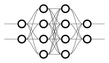 ニューラル ネット。ニューロン ネットワーク。深い学習。認知技術コンセプト。ベクトル図