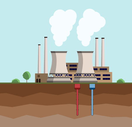 Concepto de energía geotérmica. Planta de generación de energía geotérmica respetuosa con el medio ambiente. Industria de generación verde. Ilustración vectorial