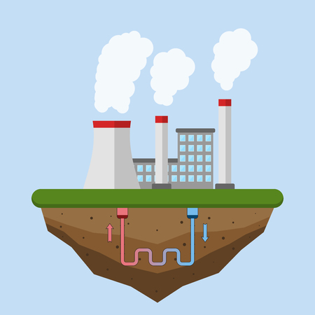 Geothermal energy concept. Eco friendly geothermal energy generation power plant. Green generating industry. Vector illustration.