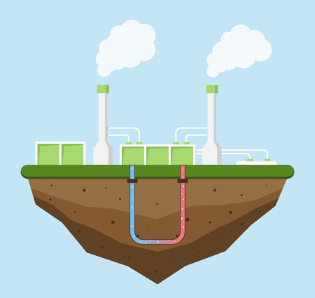 thermal power plant: Geothermal energy concept. Eco friendly geothermal energy generation power plant. Green generating industry. Vector illustration.
