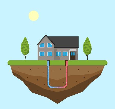 Koncepcja zielonej energii geotermalnej. Ekologiczny dom z ogrzewaniem geotermalnym i wytwarzaniem energii. Ilustracji wektorowych.