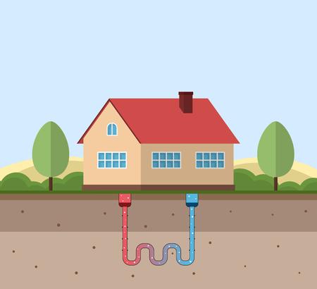 Geothermisches grünes Energiekonzept. Umweltfreundliches Haus mit geothermischer Heizung und Energieerzeugung. Vektor-Illustration. Vektorgrafik