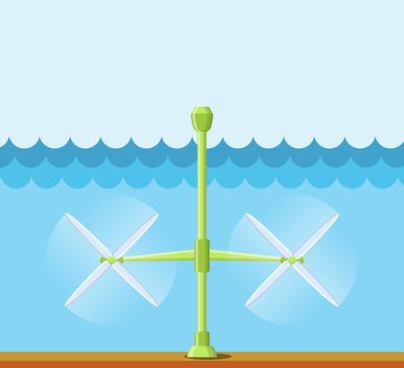 Getijdencentrale. Vlakke stijl getijgeest toren station. Innovatie schone krachtbron. Hernieuwbare energieconcept. Vector illustratie.