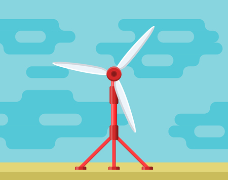 Tidal power station. Flat style cartoon tidal tower station. Innovation clean power source. Renewable energy concept. Vector illustration.