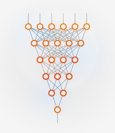 Réseau neuronal. Réseau de neurones. L'apprentissage en profondeur. Concept de technologie cognitive. Illustration vectorielle Banque d'images - 90358500