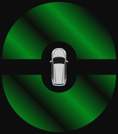 Autonomous car top view. Self driving vehicle with radar sensing system. Driver-less automobile on road. Illustration