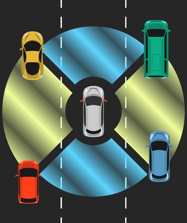 Vista superior del automóvil autónomo. Vehículo autónomo con sistema de detección de radar. Automóvil sin conductor en la carretera.