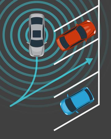 Autonomous car parking top view. Self driving vehicle with radar sensing system. Driver-less automobile parking. Vector illustration. Illustration
