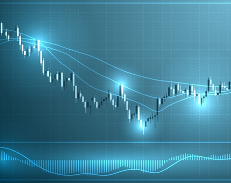Chart with forex or stock candles graphic. Set of various indicators for forex trade. Candlestick data visualization background. Vector illustration.