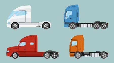 Grote commerciële semi-vrachtwagen met aanhangwagen. Aanhangwagenvrachtwagen in vlakke geïsoleerde stijl. Levering en verzending zakelijke vrachtvrachtwagen. Vecror illustratie.