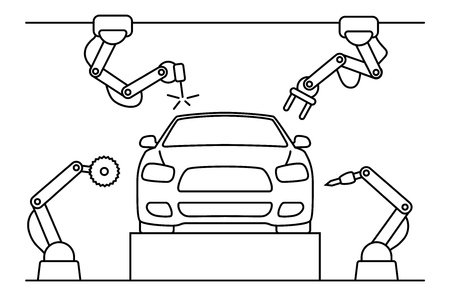 Thin line style car assembly line. Automatic auto production conveyor. Robotic car machinery industry concept. Vector illustration.
