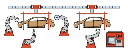 Thin line style car assembly line. Automatic auto production conveyor. Robotic car machinery industry concept.