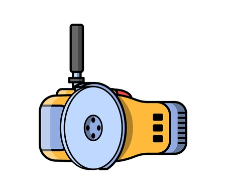 Angle grinder construction electric tool. Flat style icon of angle grinder Vector illustration. Illustration
