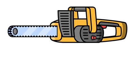 Chainsaw construction electric tool. Flat style icon of chainsaw Vector illustration. Illustration