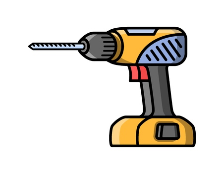 Screwdriver construction electric tool. Flat style icon of screwdriver. Vector illustration.