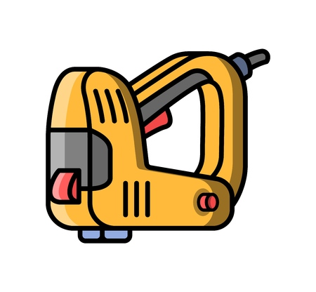 Stapler construction electric tool. Flat style icon of stapler. Vector illustration.