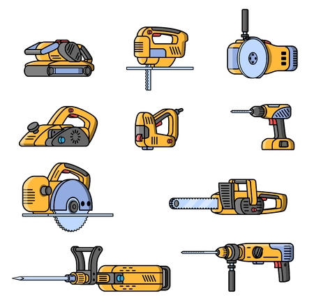 Set of electric construction tools. Flat style professional builder tool. Angle belt grinder, chainsaw, circular saw, jackhammer, jigsaw, jointer, puncher, screwdriver stapler Vector illustration