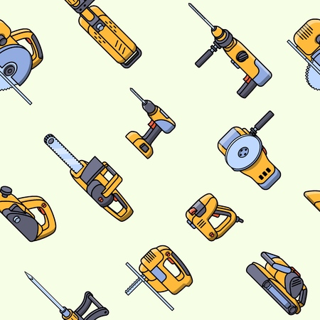 Seamless pattern of electric construction tools. Flat style seamless background of professional builder tool. Angle belt grinder, chainsaw, circular saw, jackhammer, jigsaw, jointer, puncher, screwdriver, stapler. Vector illustration