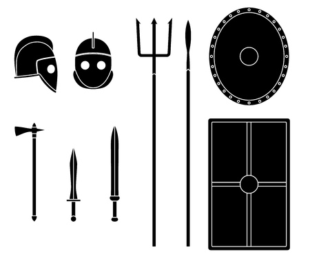 Gladiator weapons and armors set. Ancient warrior equipment. Gladius, dagger, trident, spear, helmet shield Vector illustration