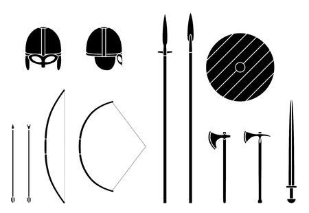 Ancient weapons and armors set illustration