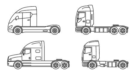 Big commercial semi truck with trailer. Trailer truck in flat style isolated. Delivery and shipping business cargo truck. Vector illustration. Illustration