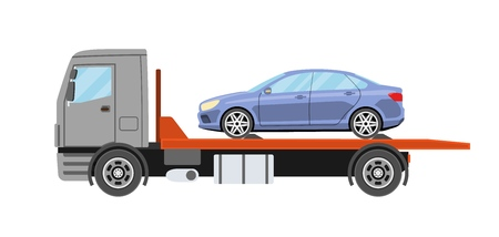 Tow truck or Wrecker truck with evacuated car. Towing truck evacuation service.