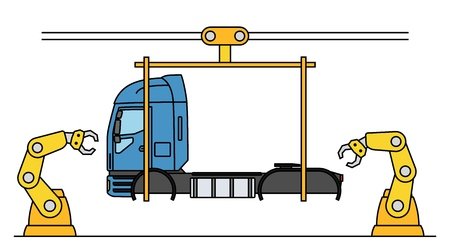 Thin line style truck assembly line. Automatic transport production conveyor. Robotic truck machinery industry concept. Vector illustration. Illustration