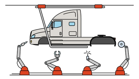 Thin line style truck assembly line. Automatic transport production conveyor.