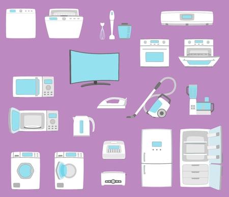 Household appliances set in flat style illustration. Vettoriali