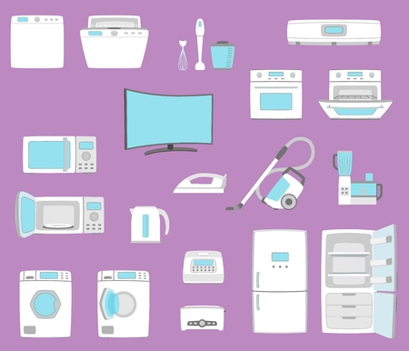 Household appliances set in flat style illustration. Çizim