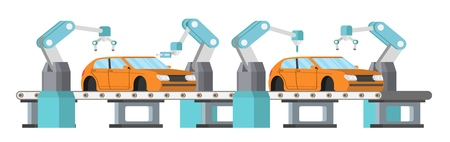 Car assembly line, automatic auto production conveyor. Robotic car machinery industry concept vector illustration. Иллюстрация