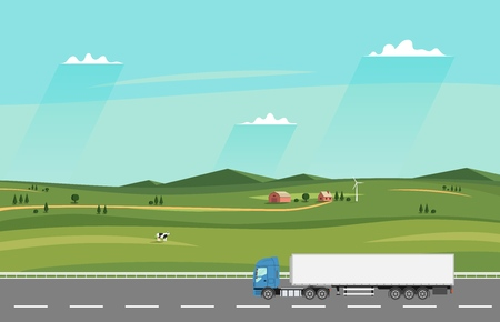 Truck on the road with Summer rural landscape with farm Illustration.