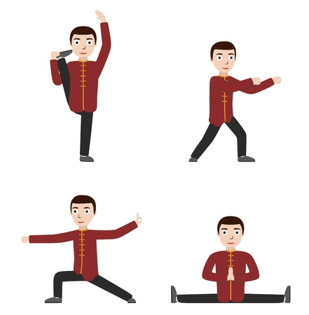 Man performing qigong or taijiquan exercises. Man practicing Tai Chi, qi gong. Flat style. Vector illustration. Stock Illustratie
