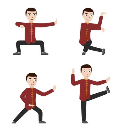 Man performing qigong or taijiquan exercises. Man practicing Tai Chi, qi gong. Flat style. Vector illustration.