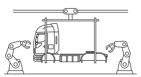 Thin line style truck assembly line. Automatic transport production conveyor. Robotic truck machinery industry concept. Vector illustration.  イラスト・ベクター素材