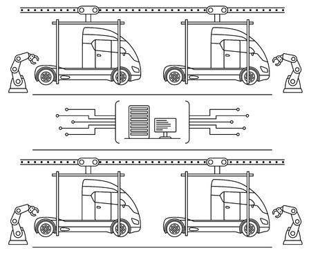 thin line camion de style de ligne de réparation. automatique automatique de la machine de travail de maintenance de maintenance de l & # 39 ; industrie des travaux de travail . illustration vectorielle