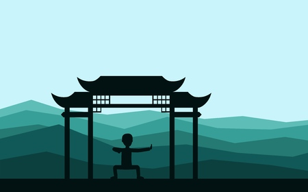 Man performing qigong or taijiquan exercises in the evening. Male person practicing Tai Chi, qi-gong exercises. Ancient Chinese healthcare practice flat style vector illustration. Banco de Imagens - 98621994
