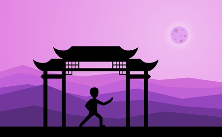 Man performing qigong or taijiquan exercises in the evening. Male person practicing Tai Chi, qi-gong exercises. Ancient Chinese healthcare practice flat style vector illustration.