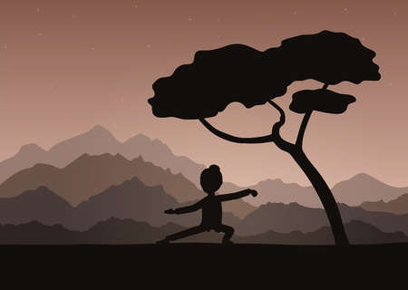 Girl performing qigong or taijiquan exercises in the evening. Woman practicing Tai Chi, qi-gong exercises. Ancient Chinese healthcare practice flat style vector illustration.