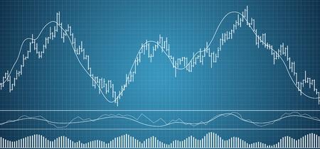 막대 금융 데이터 그래프. Forex 주식 암호화 통화 데이터 시각화. 금융 거래에 대한 다양한 지표 세트. 막대 데이터 배경. 벡터 일러스트 레이 션.