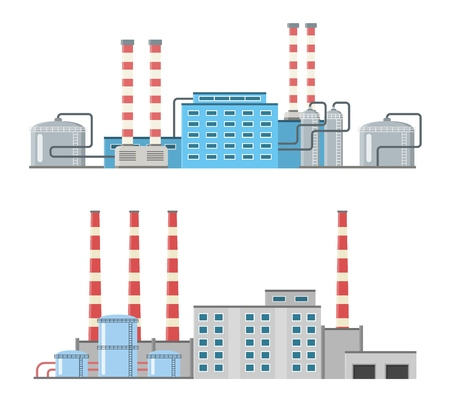 Set of production industrial building isolated on white background. Factory in the flat style. Manufacturing power building. Decorative factory icon. Vector illustration.