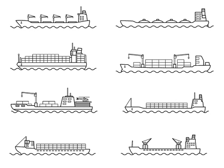 Set of commercial cargo ships. Sea transportation vehicle. Transport boat. International water trade concept. Vector illustration. Иллюстрация