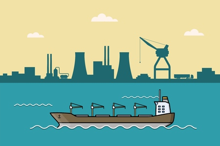Set of commercial cargo ships. Sea transportation vehicle. Water logistics. Transport boat. International water trade concept. Port background. Vector illustration.
