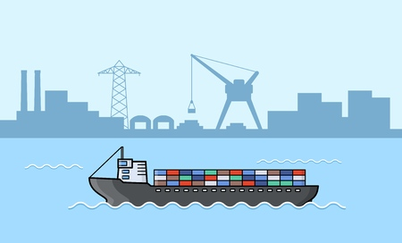 Set of commercial cargo ships. Sea transportation vehicle. Water logistics. Transport boat. International water trade concept. Port background. Vector illustration.